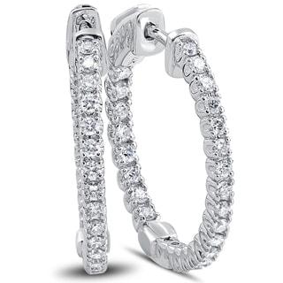"""14k White Gold 1 ct TDW Diamond Inside Outside Hoops With Vault Lock 1"""" Tall (F-G, VSI-VS2)"""