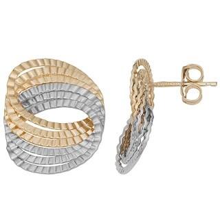 Fremada 14k Two-Tone Gold Diamond-Cut Circles Post Earrings