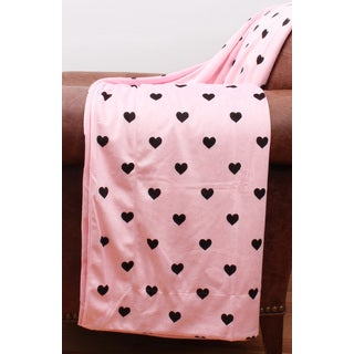 Love Hearts Pink and Black Microplush Printed Throw