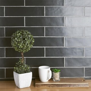 SomerTile 3x12-inch Gloucester Matte Nero Ceramic Wall Tile (22 tiles/5.5 sqft.)