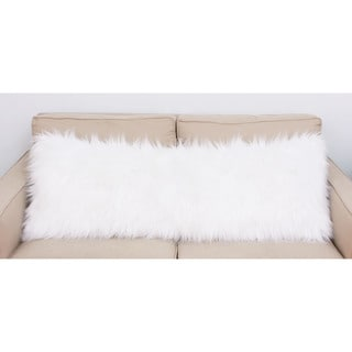 Thro by Marlo Lorenz Keller White Faux Mongolian Fur Body Pillow