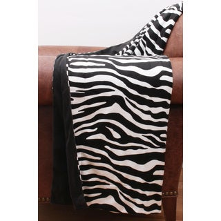 Thro by Marlo Lorenz Zoe Black/White Microplush Zebra Print Throw