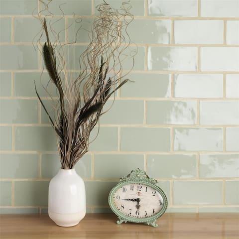 SomerTile 3x6-inch Gloucester Sage Ceramic Wall Tile (16 tiles/2 sqft.)