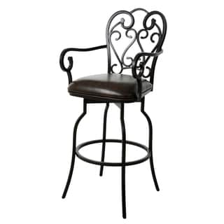 Magnolia Bronze Steel and Faux Leather 30-inch Swivel Bar Stool with Arms