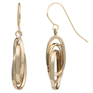 Fremada 14k Yellow Gold Interlocking Ovals Drop Earrings