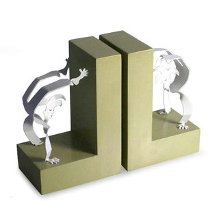 Pair of Handstand Harlequin Aluminum Bookends (Peru)
