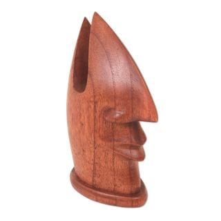 Friendly Face Wood Eyeglasses Stand (Bali and Java)