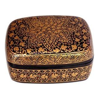 Handmade Golden Wishes Paper Mache Box (India)