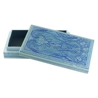 Handmade Sapphire Paisley Papier Mache Box (India)