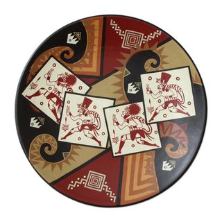 Handmade Scissors Dance Decorative Ceramic Plate (Peru)