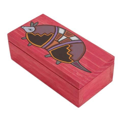 """Armadillo Pinewood Box (El Salvador) - 2.4 """" H x 7.0"""" W x 3.5 """" D"""
