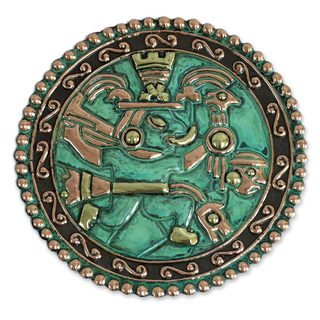 Handmade Chasqui Messenger Bronze and Copper Plate (Peru)