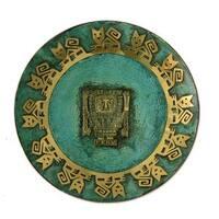 Handmade Large Inca Lord Creator Copper Plate (Peru)