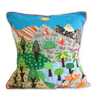 Handmade Mountain Lake Applique Cushion Cover (Peru)