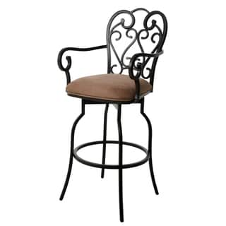 Magnolia Bronze Steel/Suede 26-inch Swivel Stool with Arms