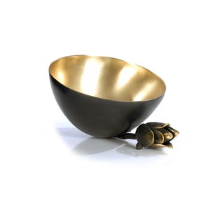 Golden Luxury Collection Goldtone Brass Lotus Crutch Bowl