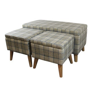 "18"" Grey Plaid Storage Bench + 2 Storage Ottoman Seating"