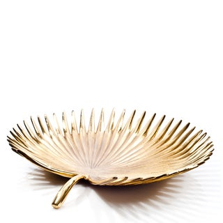 """Palm Leaf Bowl Brass Bowl 10X9.5""""X2"""