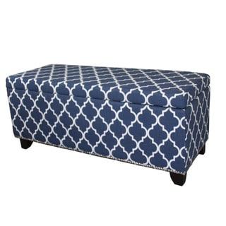 18-inch Diagonal Moroccan Stripes Denim Blue Storage Bench