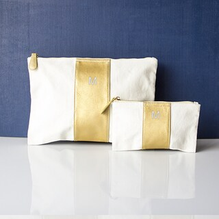 Personalized Gold Faux Leather Clutch Set