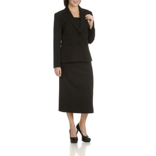 Giovanna Signature Women's Black Polyester 2-piece Skirt Suit