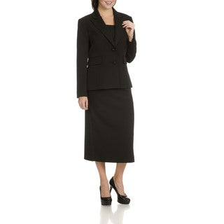 Giovanna Signature Women's Black Polyester 2-piece Skirt Suit (Option: 18)