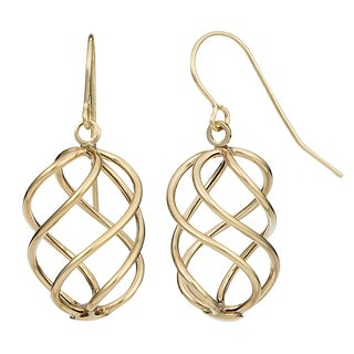 Fremada 14k Yellow Gold Swirl Dangle Earrings