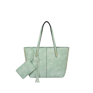 Mellow World Addison Mint Green Faux Leather Tote Bag