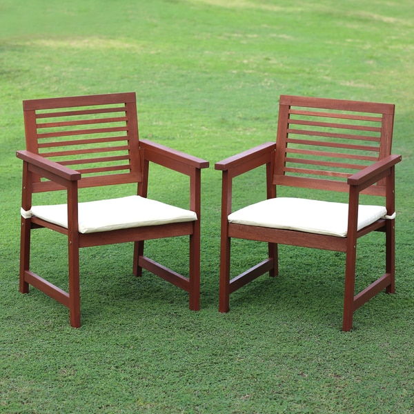 Furinno Tioman Hardwood Outdoor Armchairs with Cushion (Set of 2)