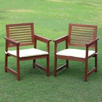 Furinno Tioman Hardwood Outdoor Armchairs with Cushion (Set of 2)
