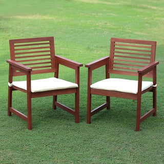 Furinno Tioman Series Tan Teak Hardwood Outdoor Armchairs With Cushion (Set  Of 2)