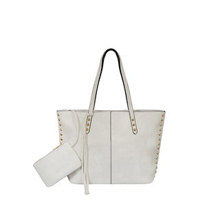 Mellow World Addison White Faux Leather Tote Bag