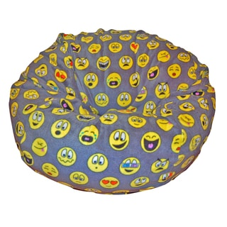 Ahh Products Emojis Black/Grey/Yellow Anti-pill Fleece Washable Bean Bag Chair