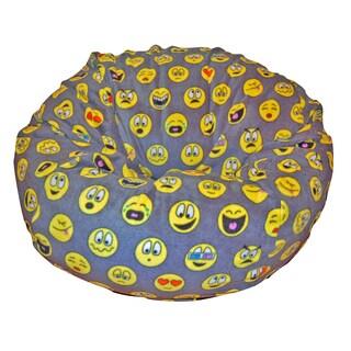 Ahh Products Emojis Black/Grey/Yellow Anti-pill Fleece Washable Bean Bag Chair