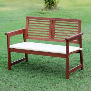 Furinno Tioman Teak Hardwood Outdoor Bench with Cushion