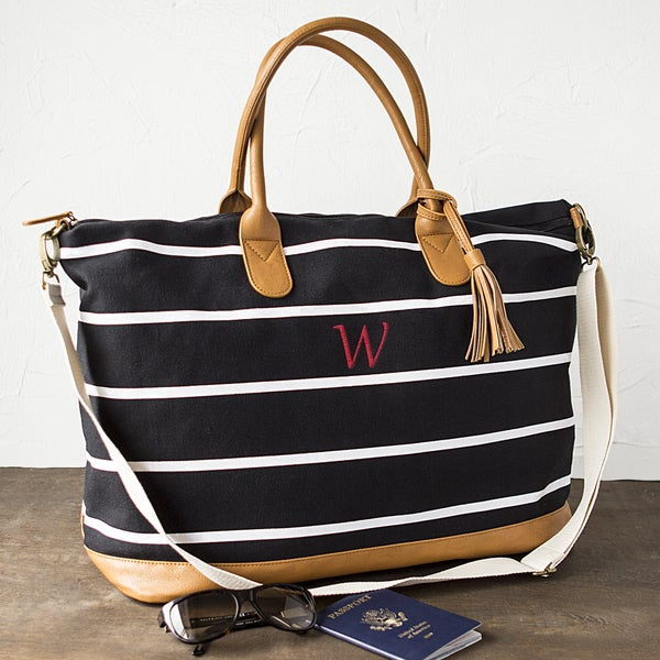 4ab2ffaba194 Shop Personalized Black and White Striped Oversized Weekender Tote ...