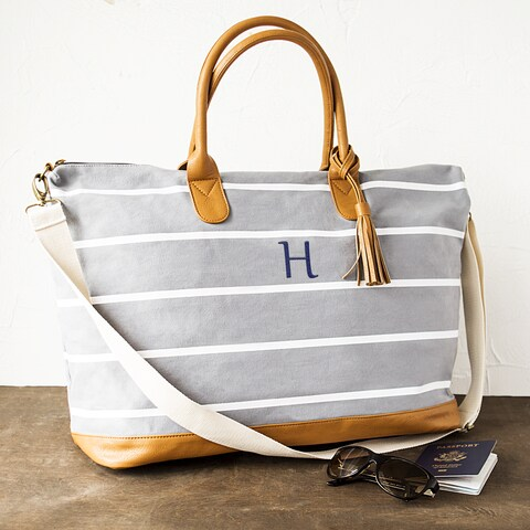 Personalized White-Striped Grey Canvas Weekender Bag