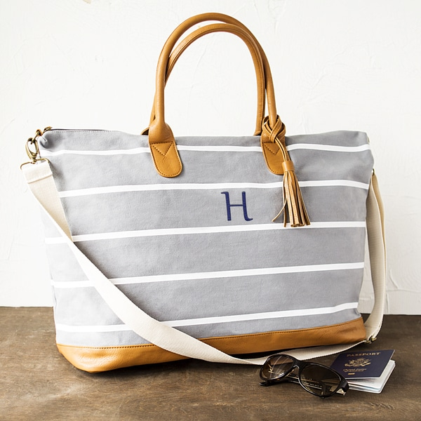 a6b8b4de7ca Shop Personalized White-Striped Grey Canvas Weekender Bag - Free ...