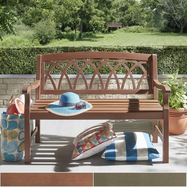 Phenomenal Shop Yasawa Wood Outdoor Lattice Back Garden Bench By Machost Co Dining Chair Design Ideas Machostcouk