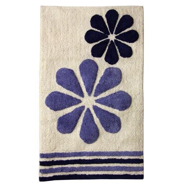 Fleur Duo White/Blue Cotton 20-inch x 32-inch Bath Rug