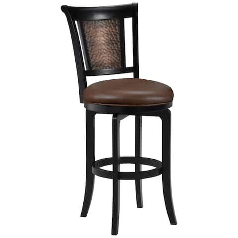 Hillsdale Furniture Cecily Distressed Black Wood and Honey Faux Leather Swivel Counter Stool