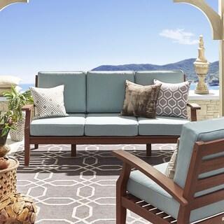 Yasawa Brown Modern Outdoor Cushioned Wood Sofa iNSPIRE Q Oasis (Option: BLUE cushion)