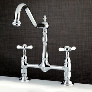 Victorian High Spout Bridge Cross-Handles Kitchen Faucet
