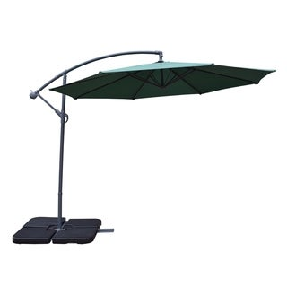 Oakland Living Corporation Troy Green 10-foot Umbrella and 4-piece Fillable Polyresin Stand