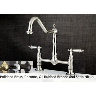 Victorian High Spout Bridge Lever-Handles Kitchen Faucet