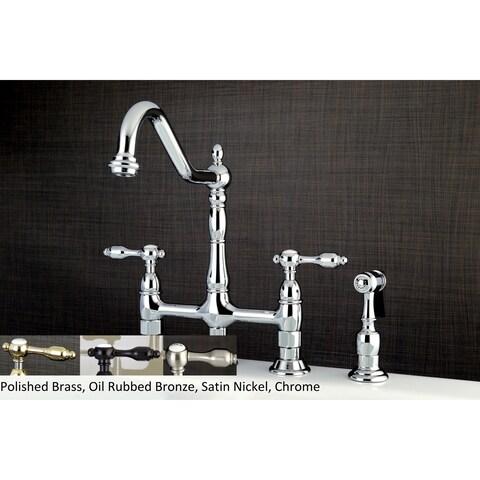 Victorian High Spout Lever-Handles Bridge Kitchen Faucet with Side Sprayer