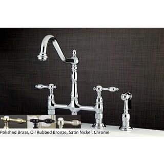 Victorian High Spout Lever Handles Bridge Kitchen Faucet With Side Sprayer  (Option: Bronze