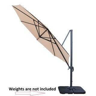 Oakland Living Corporation Troy Beige Polyester, Aluminum, and Iron 11-foot Umbrella with 360-degree Revert and Crank