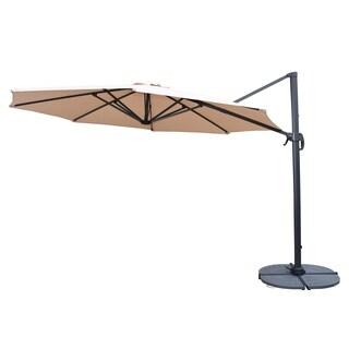 Troy Beige 11-foot Umbrella with 360-degree Revert and Crank and 4-piece Casted Polyresin Stand