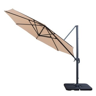 Oakland Living Corporation Troy Beige Aluminum/Iron/Polyester 11-foot Revert and Crank Umbrella with Polyresin Stand